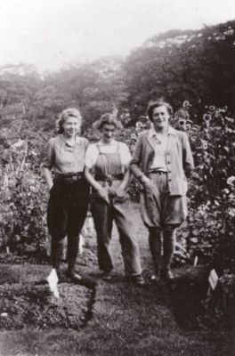 Madge Weil, Beryl Beaumont and Margaret Whitehouse working in the natural order beds in the Walled Garden in 1947, Winterbourne House and Garden, Digging for Dirt